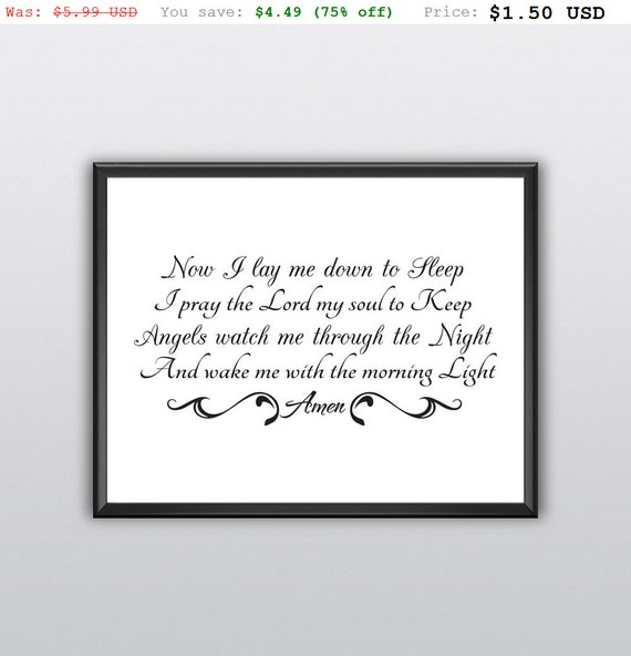 75% off Now I Lay Me Down Wall Art Quote I Pray the Lord My Soul to Keep Wall Decor Night Prayer Lord Baby God Printable Bedroom (T198)
