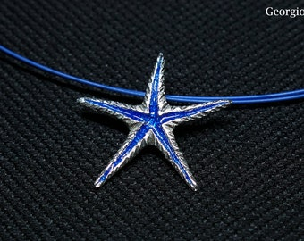 Silver Blue Starfish Necklace, Sea Star Pendant, Summer Jewelry,  Handmade in Greece