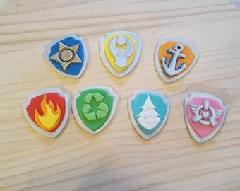 Fondant Paw Patrol Badges