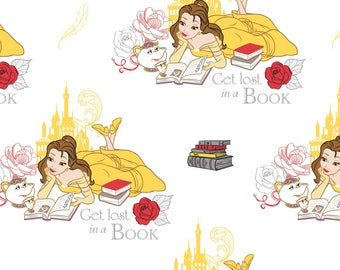 Disney Beauty and The Beast Fabric White Lost in A Book Camelot Cotton BTY