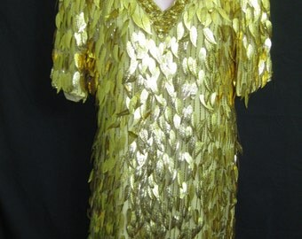 Gold short dress# 20078