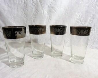 Dorothy Thorp Tumbler Glassware Set of Four, Mid century barware, Silver embossed glass set, Tumbler set, Silver Decor, Glassware set