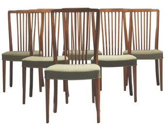 Set of Six Danish Modern Spindle-Back Dining Chairs