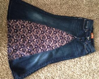Jean skirt girls skirt lace skirt long Jean skirt modest girls skirt girls pink and navy skirt girls skirt size 10