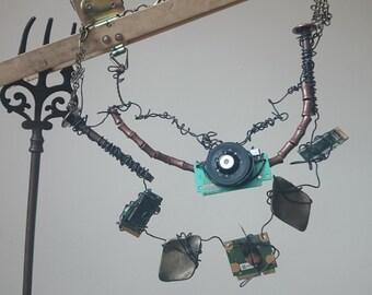 Spyder Tech Necklace. Tech art fashion adjustable jewelry handmade rare