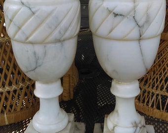 Vintage White Marble Grey Vein Urn shaped lamp bases one available