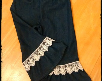 Ruffled DENIM Pants with Lace trim - 1st 2nd 3rd 4th 5th Birthday Vacation 3 6 9 12 18 24 months 2t 3t 4t 5t 6 6x 7 8 Medium Denim Color