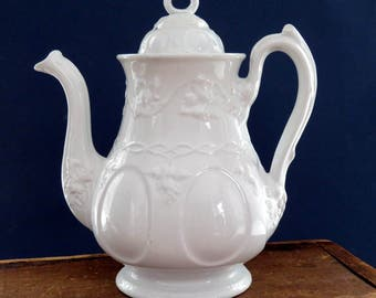 "Vintage Ironstone Coffee Pot, English Ironstone c.1840,  Adams White Ironstone,  ""Vintage Shape"" Pattern, Farmhouse Decor, Shabby White Pot"