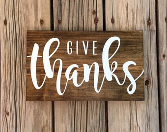 READY TO SHIP Give thanks wood sign