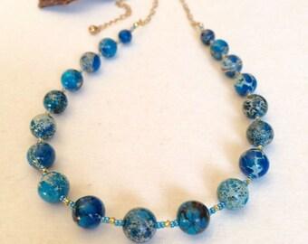 Blue Jasper Necklace Set Turquoise Blue Stone Necklace Set Blue Necklace Earring Set Blue Gold Boho Chic Necklace Set Gemstone Jewelry Set