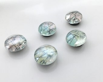 Map Glass Magnets including the UK and France - set of 5
