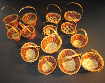 """14 mini handmade wicker baskets, 2"""" - 3"""" wide by 3"""" - 4"""" tall, for wedding/party favors, dolls, crafts, vintage stock"""