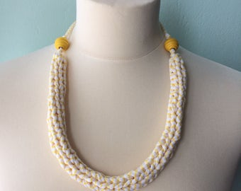 SET - hand knitted jersey necklace and bracelet - yellow & white stripes