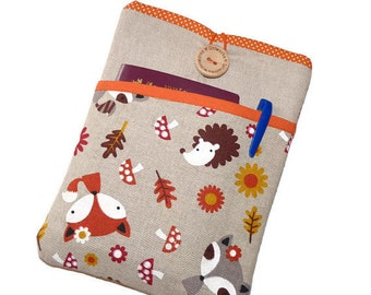 """Kindle Paperwhite Sleeve, Padded Kobo Touch 2 case, Kindle Fire HD 10, Galaxy Tab S2 Nook 8"""" case, Kindle voyage case Hedgehog Fox pocket"""