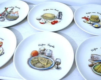 Vintage plates (x 6) crepe true porcelain with illustrations of different preparations and toppings