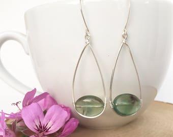 Fluorite Wire Wrapped Earrings / Sterling Silver