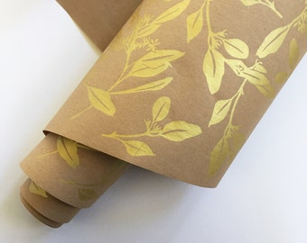 Wrapping Paper Roll - Eucalyptus Wrapping Paper, Metallic Gold Paper, 9ft, Kraft Paper Roll, Wedding Wrapping, Decorative Paper, Gift Wrap