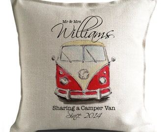 PERSONALISED Wedding Cushion Cover - VW Camper Van - Anniversary Gift - Mr and Mrs bride and groom Large Heavy Linen Cushion Cover