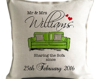 PERSONALISED 'Sharing the Sofa' Wedding anniversary Mr and Mrs Large Cushion Cover GREEN