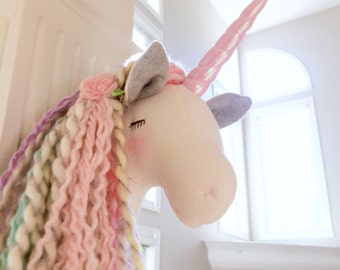 Unicorn Head  pastel rainbow unicorn faux taxidermy unicorn gift unicorn room unicorn wall mount animal head WILLOW