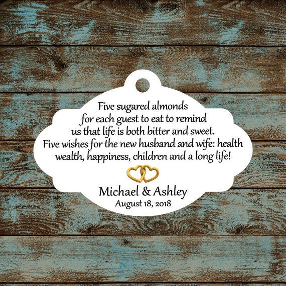 Favor Tags, Jordan Almond Favor Tags, Sugared Almond Favor Tags, Italian Wedding Favor Tags with Gold Hearts #688 - Quantity: 30 Tags