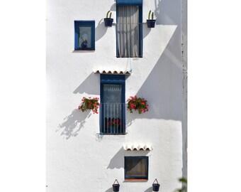 Digital photography download, illustration,greek style, window,blue white, balcony, home decor, wall art, art fine, door in Paris