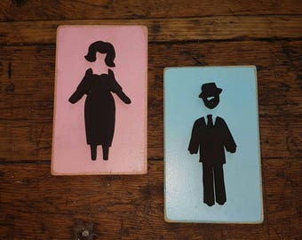 mens and womans bathroom restrooms sign art deco