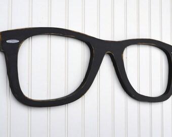 "Wayfare, Oversized 24"" Eyeglasses, Wall Decor, Wayfarer Glasses, Optical Wall Art, Spectacles, Optometry Shop Art, Optometrist, Eye Doctor"