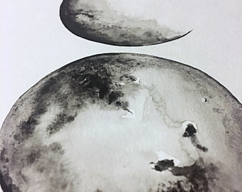 3 Moon Phases Watercolor 9in x 12in