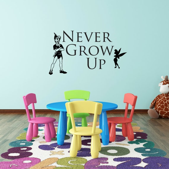 Never Grow Up Wall Decal by CharliesDesignShop