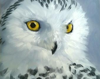 Owl - Snowy owl - bird of prey - bird painting - bird print