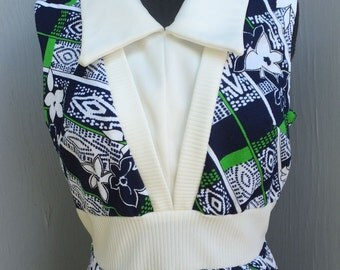 Vintage 1970s Polyester Double Knit Textured Polyester Dress, Maxi Dress, Boho, Hostess Dress, Yachting, Hawaii, Resort Wear