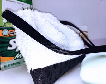 Men's Soap on a Rope, Black Soap in a Bag, Soap Sack, Washcloth Pouch, Soapy Pouch, Soap Saver Bag