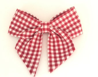 Red gingham sailor bow