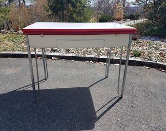 SOLD! Vintage Porcelain Top Table with Drawer / Retro Table / Retro Desk - Local Pickup / Delivery Only