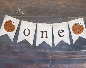 First Birthday Banner, 1st Birthday Cookie Banner, Cookie Birthday Party Banner, Cookie Party Theme, 1st Birthday Cookies Party Banner, B414