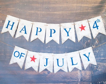 4th of July Decoration, July 4th Decor, Fourth of July Banner, 4th of July Party, Fourth of July Decorations, B424