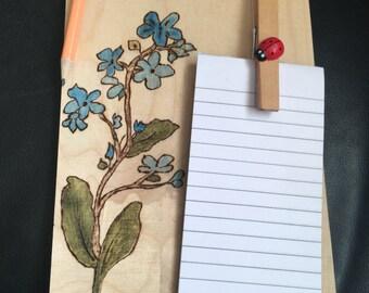 Memo Pad/Shopping List on Wooden Oiled Backboard