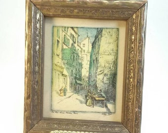 SALE Vintage framed Paris engraving by Fred Pye