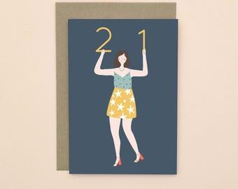 Illustrated 21 Birthday Card A6