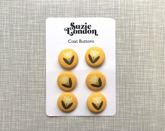 Yellow Tulip Coat or Cardigan buttons by Suzie London