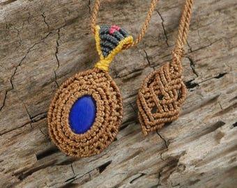 Handmade Natural Gem Lapis-lazuli Macrame Necklace / Metal Free