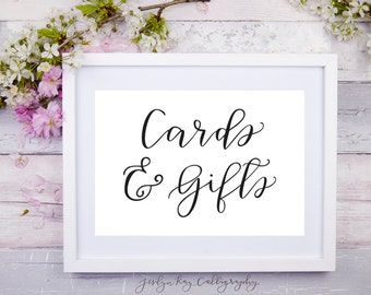 Wedding Cards & Gifts Printable Calligraphy Sign- 5x7, 8x10, 10x13 Gift Table Decorations DIY Bridal Shower Sign Baby Shower Table Signage