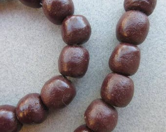 Old Brown Ghana Glass Beads (13x10mm) [66551]