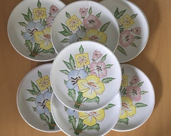 Darling vintage set of 10 hand painted Italian dessert plates with pink yellow blue flower bunches perfect for tropical holiday brunch!