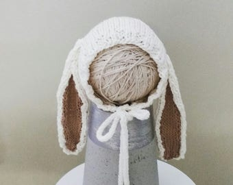 Knit Baby Hat, Cream Natural Bunny Bonnet in Organic cotton, and light brown ears, Newborn Hat with Ears, Baby Bunny Hat, Newborn Photo Prop
