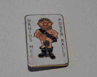 Druids MCC Poser Rally TN Priest Co Ltd Old Metal Enamel Bikers Pin Badge