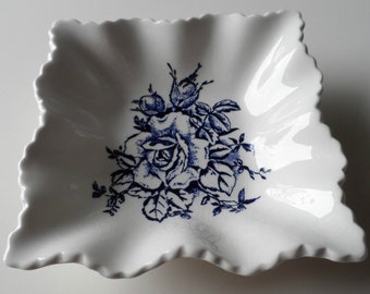 Fenton Rare Old Blue Garland Scalloped Wavy Square Trinket / Change/ Candy Dish
