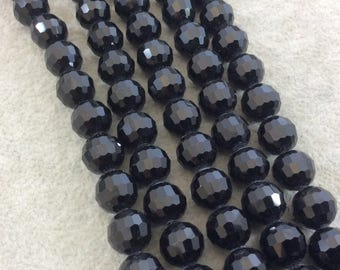 """10mm Glossy Finish Faceted Opaque Jet Black Chinese Crystal Round/Ball Shaped Beads - Sold by 16"""" Strands (Approx. 42 Beads) - (CC10-02)"""