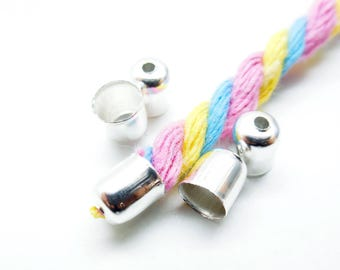 Set of 10 clips for necklace, cord, silver color, 6 * 5 mm